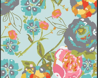 Lillybelle Garden Rocket Turquoise Fabric by Art Gallery