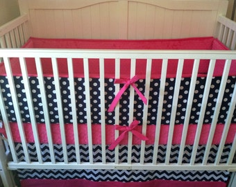 Modern Navy and Pink Crib Bedding