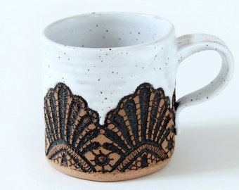 Handmade Moroccan Lace Mug in White