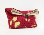 Makeup Bag, Yellow Flowers on Burgundy Clutch Purse, Great for Travel, Gift Under 25, Bridesmaid Gift