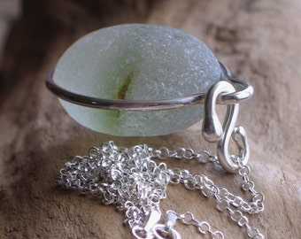 Natural Sea Glass Sterling Silver Large Pendant Necklace Green Multi (501)