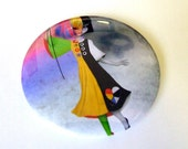 """Pocket Mirror """"Causing a Stir"""" 2 1/4"""" Round Compact Mirror - Two Tone Girl with Hot Air Balloon Black and White Rainbow"""