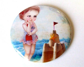 "Pocket Mirror ""Samantha at the Shore"" 2 1/4"" Round Compact Mirror - Little Girl at the Beach with Sand Castle - Lowbrow Artwork"