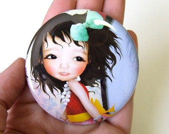 """Pocket Mirror """"Mielle"""" 2 1/4"""" Round Mirror Print of Original Artwork - Little Girl Playing in Dress Up Clothes Diva"""