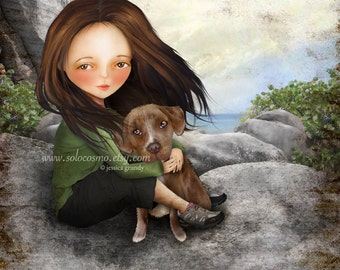 """Brown Haired Girl with Pitbull Puppy Print """"Keli and Olive"""" Fine Art 8.5x11/8x10 Premium Giclee Print of Digital Painting - Girl and Dog Art"""