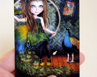 "ACEO ATC Artists Trading Card ""Little Bird"" Circus Performer Girl - Peacock - Mini Giclee Print 2.5x3.5"