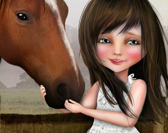 "ACEO ATC Artists Trading Card ""Kate""  Little Girl and Her Horse - Cowgirl Art- Mini Giclee Print 2.5x3.5"
