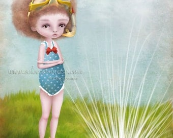 Art Print 'Soaked' Medium 8x10 x 8.5x11 Medium Sized print of little scuba girl with Afro Summer Swimming Sprinklers Water - Green and Blue
