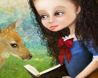 "5x7 Fine Art Print - ""Snow White"" - Cute Little Girl Art Print - Fairy Tale - Snow White and the Seven Dwarfs - Fantasy Portrait"