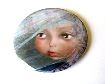 "Pocket Mirror ""Winter"" 2 1/4"" Round Compact Mirror - One of Four Seasons Girls Light Blue Soft Pink Sweet Big Eye Girl"