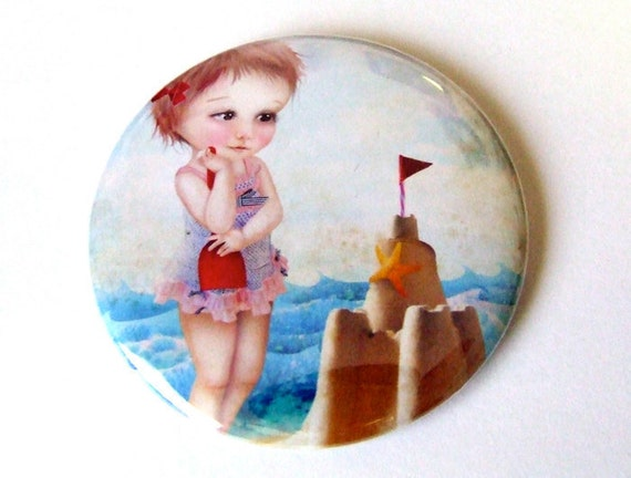 """Pocket Mirror """"Samantha at the Shore"""" 2 1/4"""" Round Compact Mirror - Little Girl at the Beach with Sand Castle - Lowbrow Artwork"""