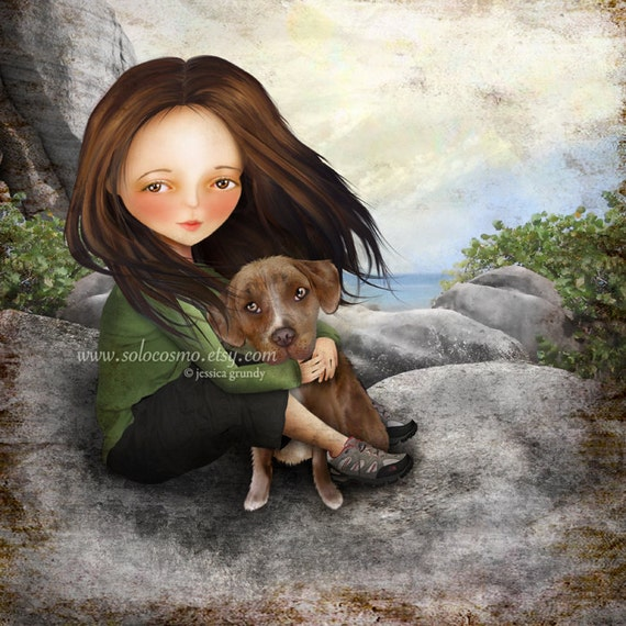 "Brown Haired Girl with Pitbull Puppy Print ""Keli and Olive"" Fine Art 8.5x11/8x10 Premium Giclee Print of Digital Painting - Girl and Dog Art"