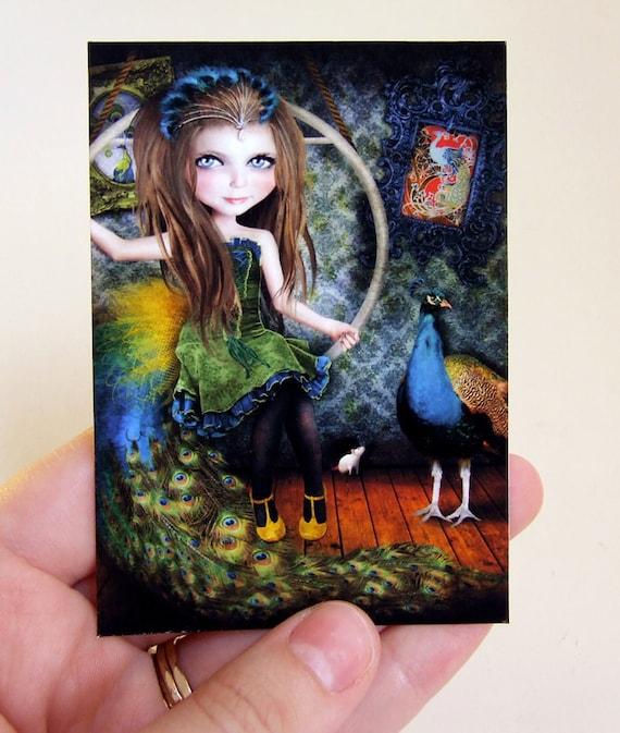 "ACEO ATC Artists Trading Card ""Little Bird"" Circus Performer Girl - Peacock - Mini Giclee Print 2.5x3.5"