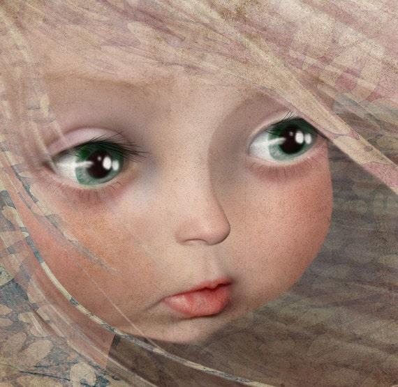 "Cute Little Girl Fine Art Print 5x7 Small Size Giclee Print Of Original Artwork ""Spring"" Big Eye Baby Face Child Portrait"