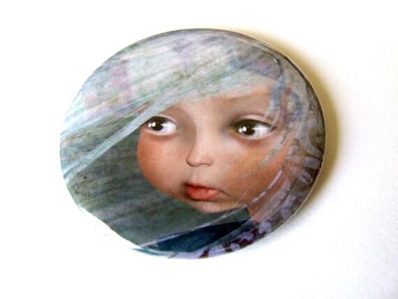 "Pocket Mirror ""Winter"" 2 1/4"" Round Compact Mirror - One of Four Seasons Girls Light Blue Soft Pink Sweet Big Eye Girl"