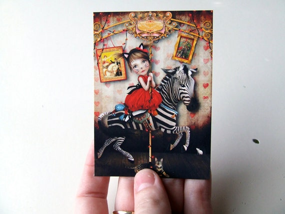 "ACEO ATC - ""Carousel Dreams"" - Artists Trading Card - Mini Fine Art Print - 2.5x3.5"" - Small Carnival Circus Art Print Little Girl and Zebr"