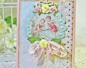 Shabby Style CELEBRATE TODAY Birthday Thinking of You Flowers Pearls Vintage Image Stitched Handmade Card & Envelope