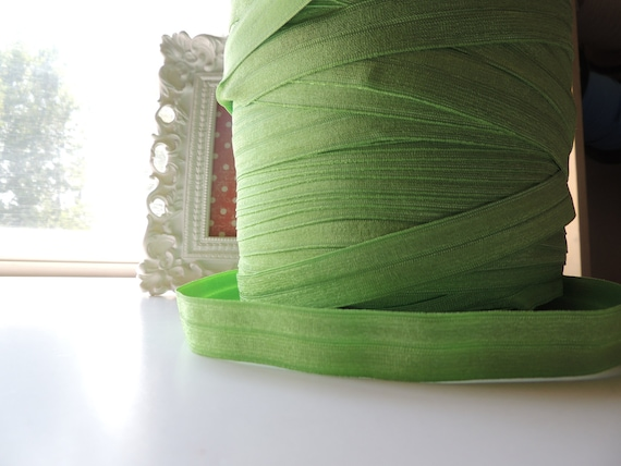 "5/8"" Inch Fold Over Elastic - 5 Yards of Medium Green Apple FOE"