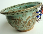 Ceramic jewelry bowl, earring bowl, ceramic earring holder. Vessel. Handcarved butterflies in gorgeous sage green. Christmas gift