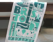 Bristol City Tea Towel in Teal & Turquoise