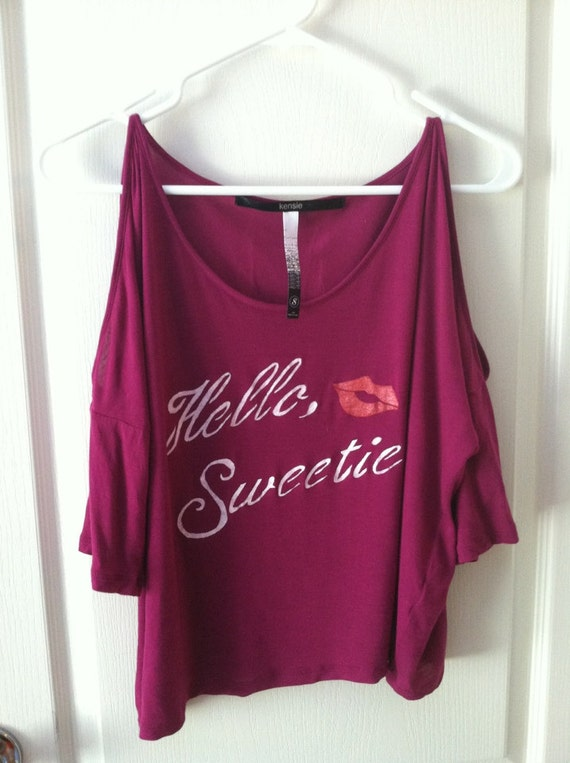 Hello Sweetie hand stenciled magenta sassy drapey cut out shoulder shirt OOAK upcycled