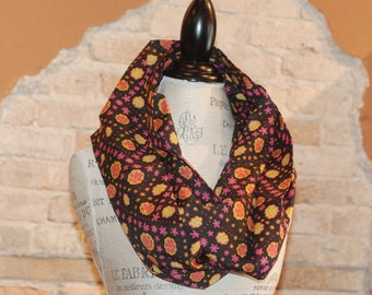 Whimsical Floral Infinity Scarf - Black Pink and Orange Cotton Voile Fabric - Fall Winter Fashion Accessory - Ladies Teens Tweens