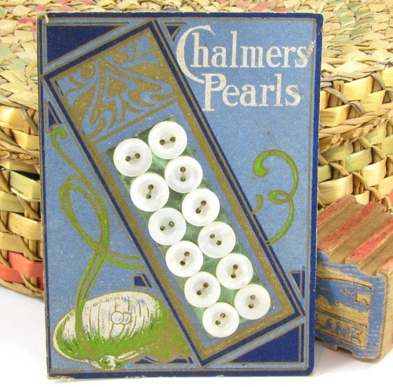 Antique Pearl Button Card with Beautiful Art Nouveau Graphics, Chalmers Pearls