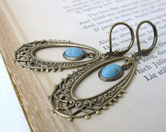 Chandelier Earrings Vintage Turquoise Blue Glass Charm Filigree Antiqued Brass