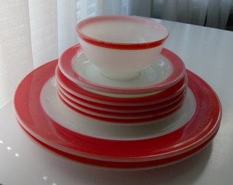 8 Piece Milk Glass Dishes with Pink Band
