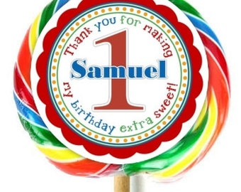 First Birthday Lollipop Stickers, 1st Birthday Decoration Stickers, Extra Large Personalized Stickers, Fit on WHIRLY LOLLIPOPS