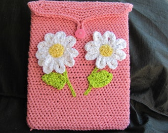 IPad Case In Pink Cotton With White Flowers