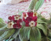 Christmas Ruby  Red  pressed Verbena and Linen Bridal Spirea behind  1x1 inch handcut glass earrings.
