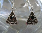 Black Onyx and Sterling Silver Triangle Earrings