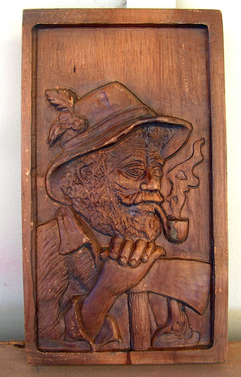 Vintage German Art Wood Carving Relief Wall Plaque Hanging