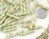 24mm Pastel Marshmallow Clay Twist Sticks Resin or Fimo Cabochons - 8 pc set