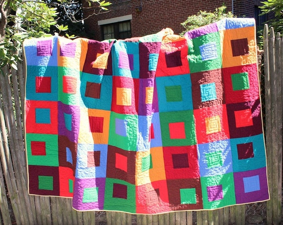 CUSTOM QUILT - Nested Squares - Modern Patchwork Bed Quilt, Lap Quilt, or Quilted Throw