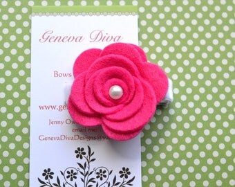 Hot Pink Felt Rosette Hairclip