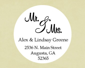 Return address labels, stickers, tags, envelope seals, round-- Mr. and Mrs.
