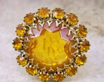 VIntage FiREY jeweled LAYERED BROOCH yellow golden topaz open back