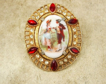 Large Vintage jeweled Victorian Scene fur clip Portrait with red rhinestones dress clip