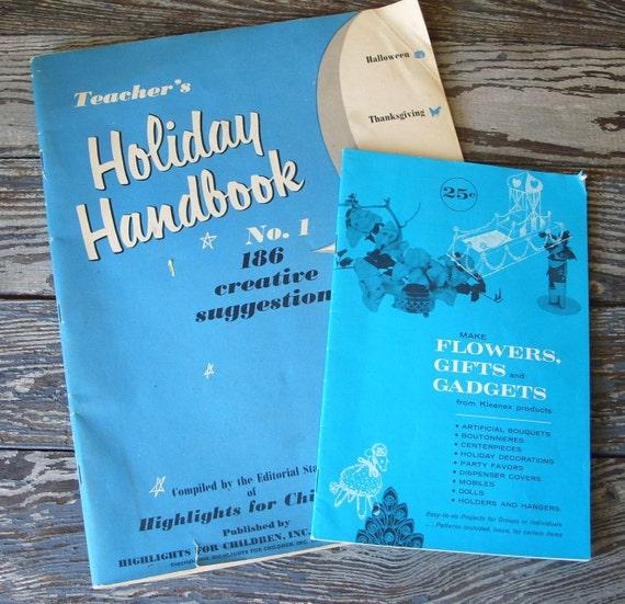 Vintage Craft Books 1953 Highlights Teachers Holiday Handbook and Kleenex Flowers
