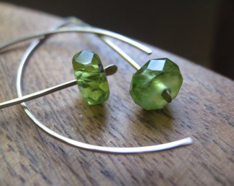peridot earrings in 14K white gold fill. green gemstone jewelry. splurge.