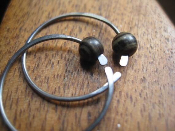 small hoop earrings in jasper stones. unisex earrings. dark silver earrings. modern earrings. splurge.