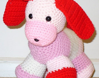 Pink Puppy Toy with Safety Eyes & Nose - ready to ship - Crocheted