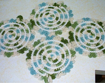 Over-sized Cotton Spiral Coasters - Set of Four - ready to ship - crocheted