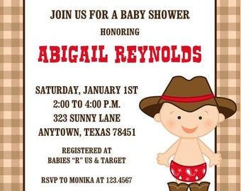 Little Cowboy Baby Shower or Birthday Invitations