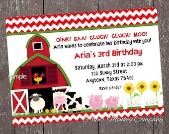 Farm Birthday Invitation - Barn Animals, Pig, Chicken, Sheep and Cow