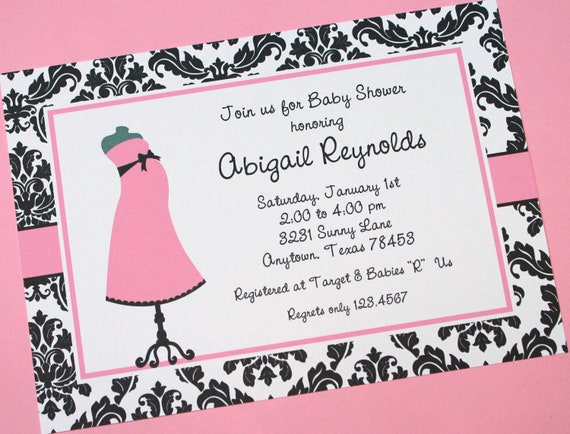 damask black and pink girl baby shower invitation by paper monkey, Baby shower