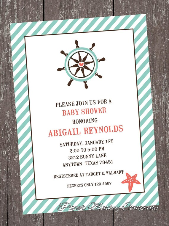 nautical baby shower invitations by pmcinvitations on etsy