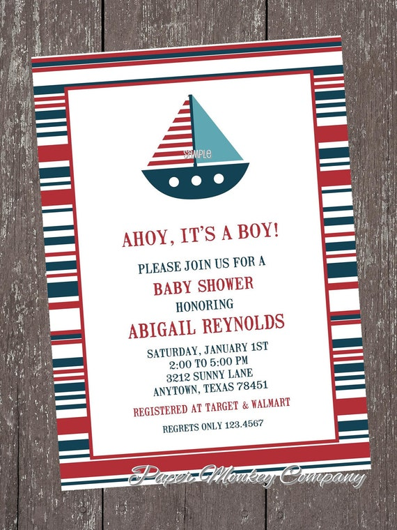 nautical sailboat baby shower invitations by paper monkey company, Baby shower invitations